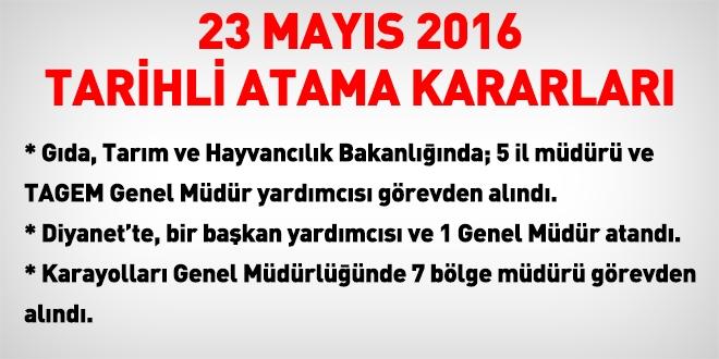 23 Mayıs 2016 tarihli atama kararları