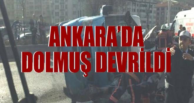 Ankara'da dolmuş devrildi: 8 yaralı