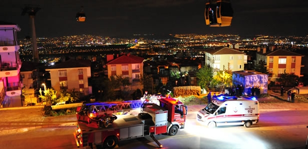 Ankara İtfaiyesi'nden Teleferik Tatbikatı